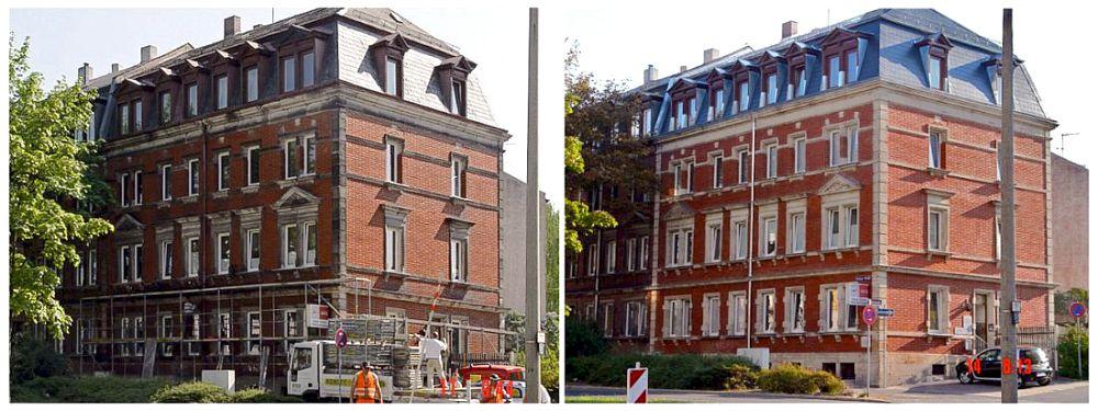 Klinker-/Sandsteinfassade - Reinigung / Ausbesserung Vorher / Nachher