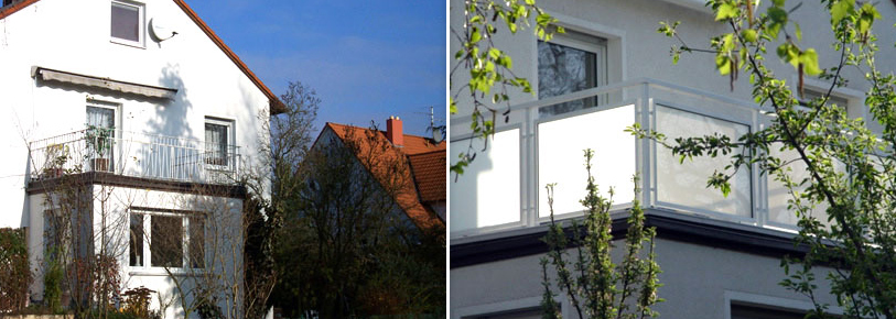 Balkonsanierung (Abdichtung / Fliesen) + Geländer - Vorher / Nachher