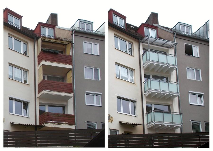 Balkonsanierung (Betonsanierung) und Balkongeländer - Vorher / Nachher